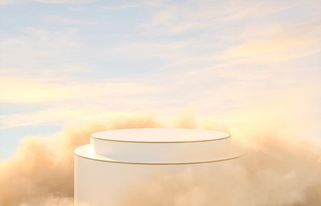 Sfondo romantico podio per la visualizzazione del prodotto con lo sfondo del cielo da sogno.
