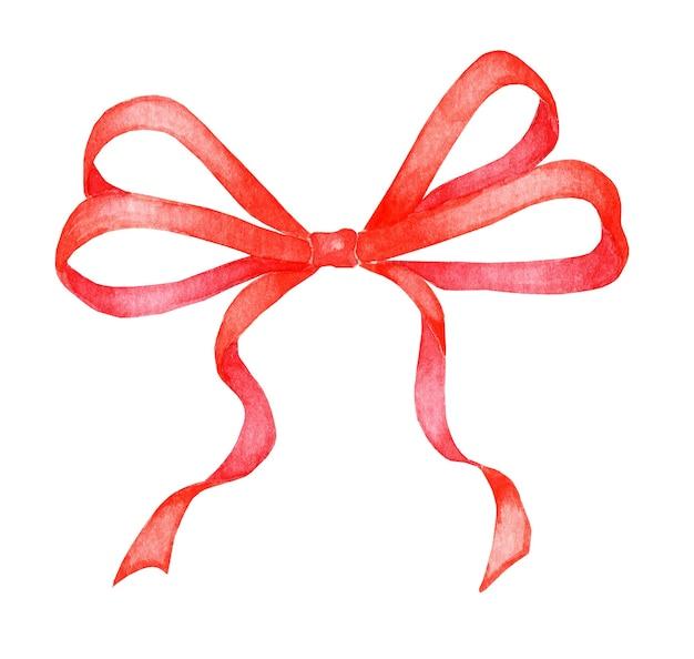 Nastro romantico fiocco rosso isolato su sfondo bianco decorazione di eventi festivi