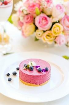 Romantico ristorante dessert ricetta concetto. deliziosa torta di formaggio. preparazione del banchetto