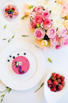 Romantico ristorante dessert ricetta concetto. deliziosa cheesecake