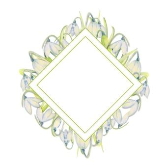Cornice primavera romantica con bucaneve sul bordo esterno su sfondo bianco isolato. illustrazione dell'acquerello.