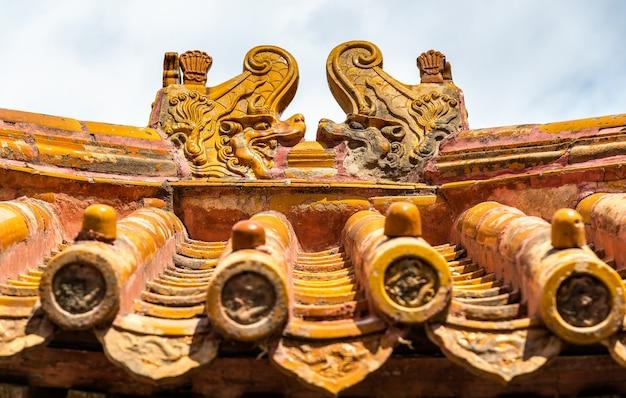 Decorazioni del tetto nella città proibita, pechino - cina