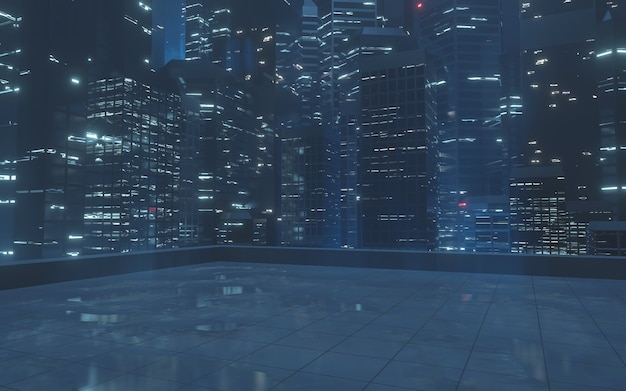 Tetto con riflesso di luce dagli edifici in città