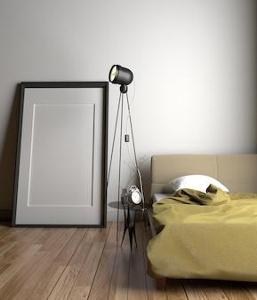 Design della camera con cornice lampada e orologio sul tavolo di vetro e cuscino bianco sul letto giallo. 3d re