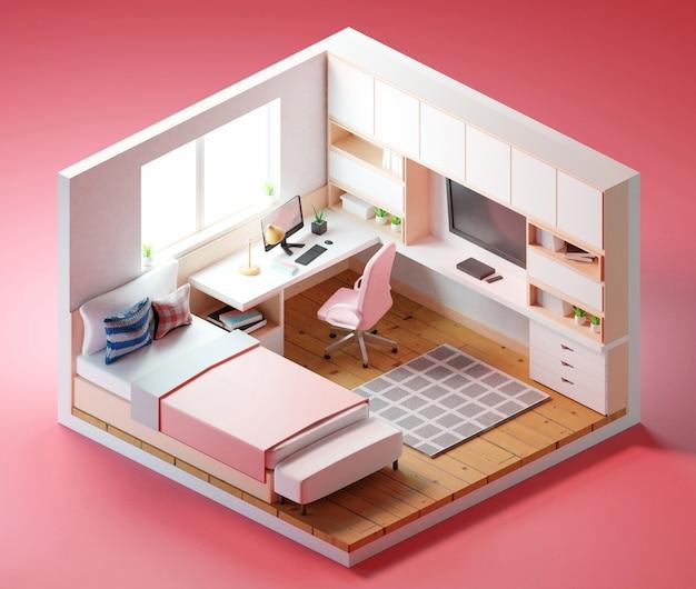 La camera include mobili - tavolo da lavoro con computer, sedia da ufficio, libreria. illustrazione 3d