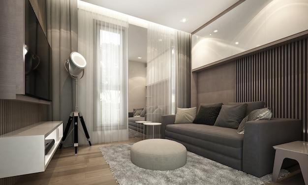Il design degli interni della camera del soggiorno e poster su tela sulla parete vuota, rendering 3d