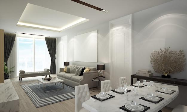 Il design degli interni della camera di soggiorno di lusso e sala da pranzo e parete di marmo vuota e vista mare, rendering 3d