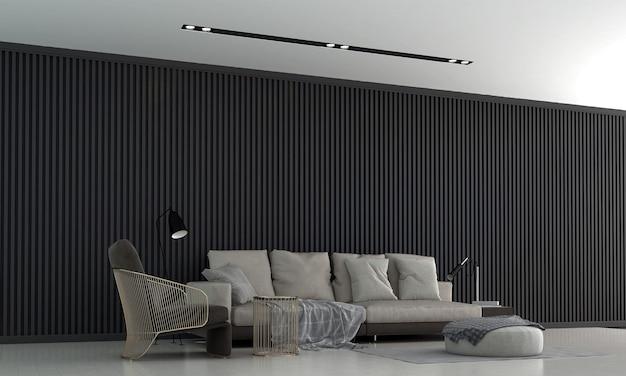 Il design degli interni della camera del soggiorno di lusso e della parete in legno di piastrelle