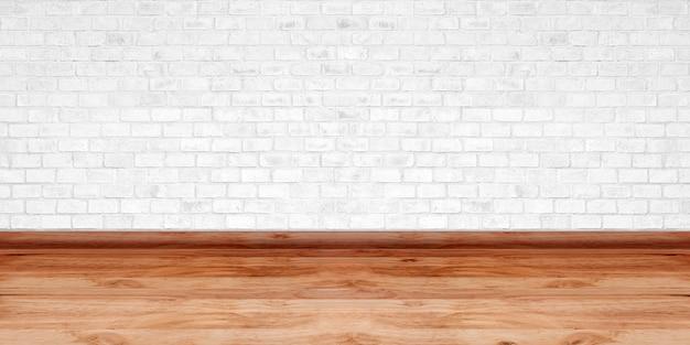 Vintage interni della stanza con muro di mattoni bianchi e struttura del pavimento in legno per opere d'arte di design