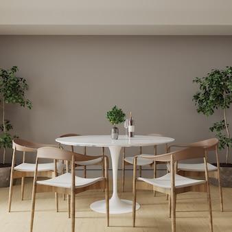 Sala con tavolo e sedie in legno