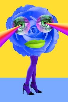 Occhi di bocciolo di rosa e belle gambe da donna in collant color acido e scarpe con i tacchi alti funky surreale