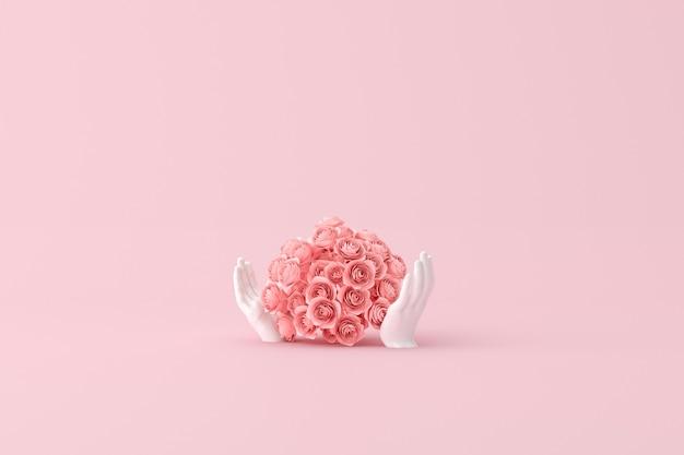 Fiore di rosa nella scultura di mani umane, rendering 3d.