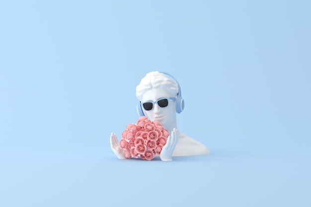 Fiore di rosa e scultura umana, rendering 3d.