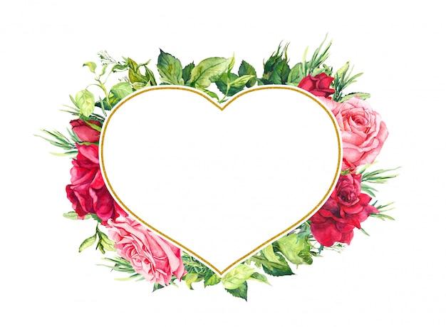 Fiori di rosa e verde nella cornice a forma di cuore. foglie, erba, erbe. illustrazione romantica per matrimonio, salva la data card