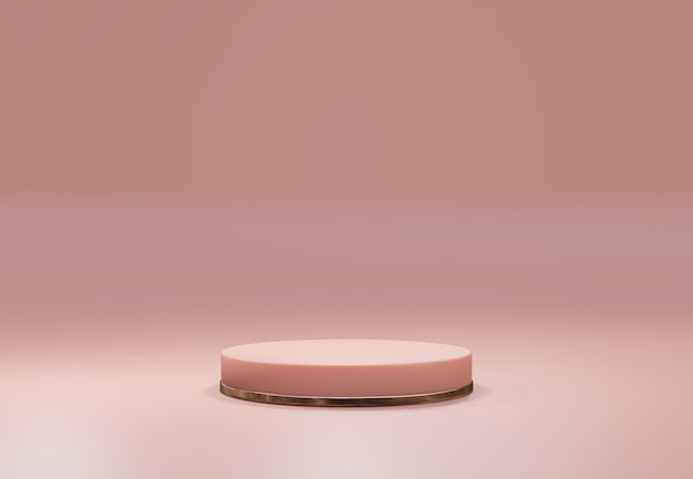 Piedistallo in oro rosa su sfondo naturale pastello rosa