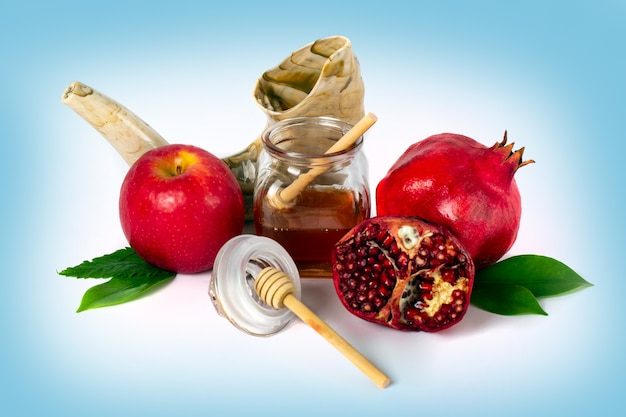 Concetto di vacanza di capodanno ebraico rosh hashanah simboli tradizionali festa ebraica di yom kippur