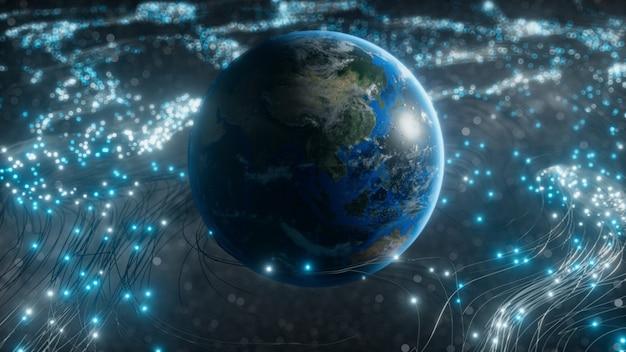Un globo rotante in nuvole di fibre ottiche che trasmettono segnali