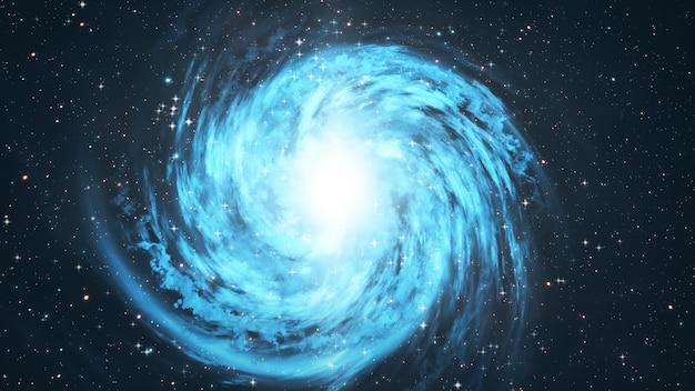 Galassia a spirale girante con le stelle nell'illustrazione dello spazio cosmico 3d Foto Premium