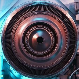 Un disco del rotore con pale di un turbogas turbogetto, vista interna. elementi, dettagli e meccanismi delle turbine. ingegneria energetica e meccanica, cornice quadrata