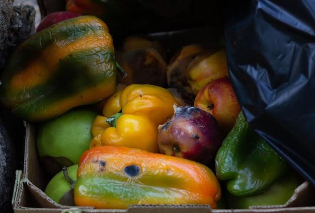 Frutta marcia e peperoni arancioni nella scatola di cartone della spazzatura prodotti di scarto del negozio di verdura
