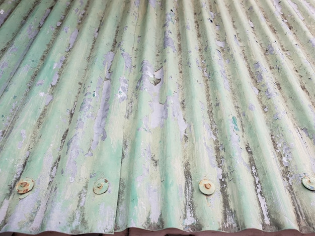 Tetto zincalume ondulato approssimativamente verde.