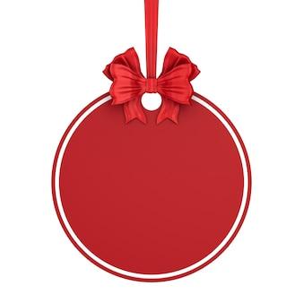 Etichetta rotonda di natale con nastro rosso e fiocco su sfondo bianco. illustrazione 3d isolata