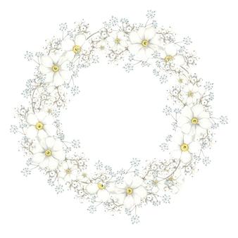 Rami di cornice floreale rotonda su sfondo bianco
