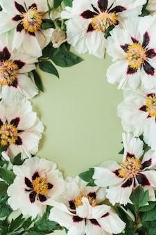 Bordo cornice rotonda di fiori di peonie bianche
