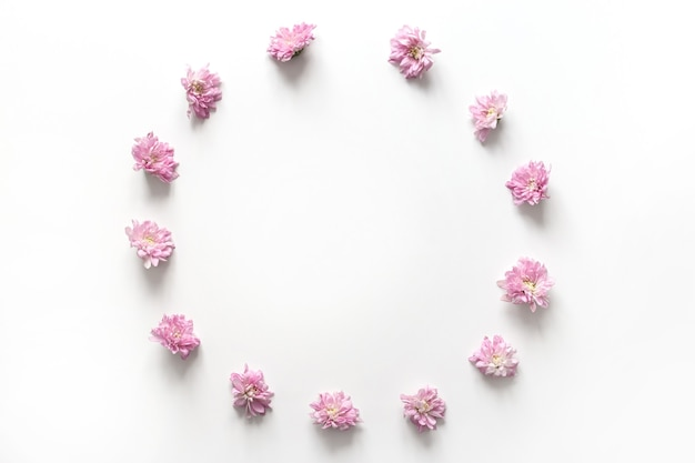 Cornice rotonda con bocciolo di fiori rosa isolato su sfondo bianco. vista piana laico e dall'alto.