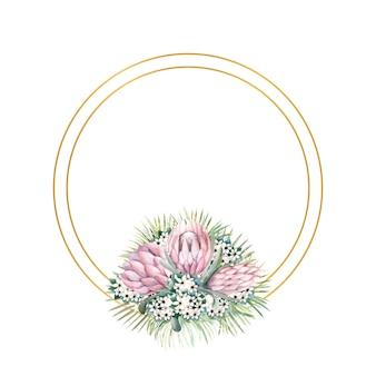 Cornice rotonda in oro con fiori di protea, foglie tropicali, foglie di palma, fiori di bouvardia