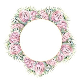 Cornice rotonda dorata con fiori protea