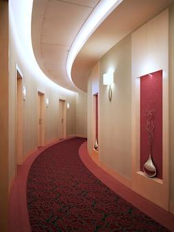 Corridoio rotondo dell'hotel in stile art déco. controsoffitto sospeso con luci al neon. modanatura in legno da parete, bella decorazione ornamentale. rendering 3d