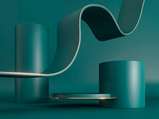 Piedistalli rotondi cilindro verde decorazioni in oro 3d rendono l'illustrazione composizione scultorea per la pubblicità creativa base vuota del podio per la promozione del prodotto mockup reale scuro di lusso