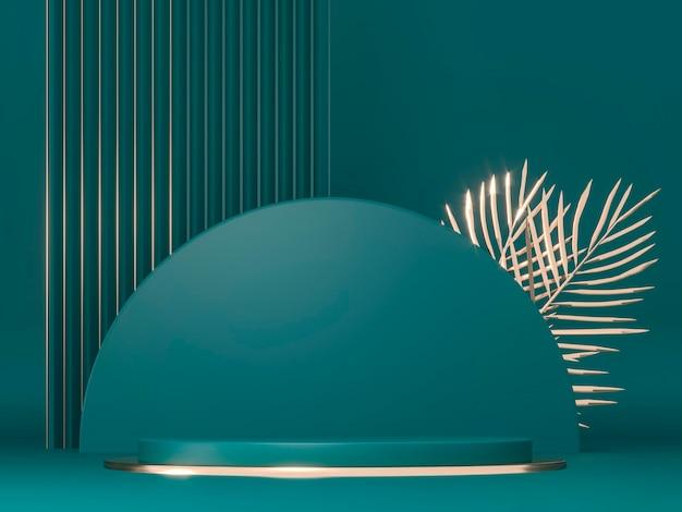 Piedistalli rotondi cilindro verde oro foglie di palma 3d rendono l'illustrazione composizione scultorea per la pubblicità creativa base vuota del podio per la promozione del prodotto mockup reale scuro di lusso