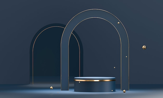Podio rotondo con forme geometriche ed elementi in oro. piedistallo vuoto astratto, piattaforma per prodotto.