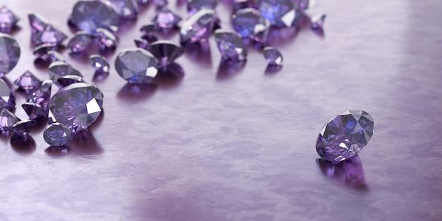 Gemme viola rotonde e gruppi di diamanti gioielli posizionati su sfondo lucido