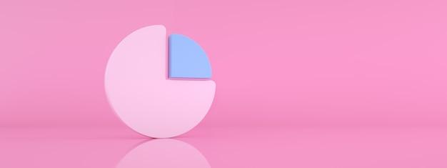 Grafico statistico rotondo su sfondo rosa, rendering 3d, immagine panoramica mockup