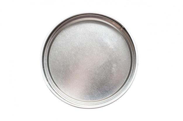 Cassa rotonda in metallo, scatola vuota, vista dall'alto