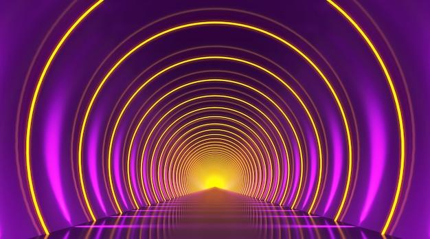 Fondo astratto del podio del tunnel rotondo. fase di riflessione della luce gialla viola. rendering 3d.