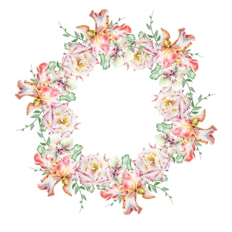 Mazzo rotondo dell'acquerello con i fiori. iris. rosa. orchidea. illustrazione. disegnato a mano.