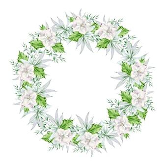 Mazzo rotondo dell'acquerello con fiori e foglie. illustrazione. disegnato a mano.