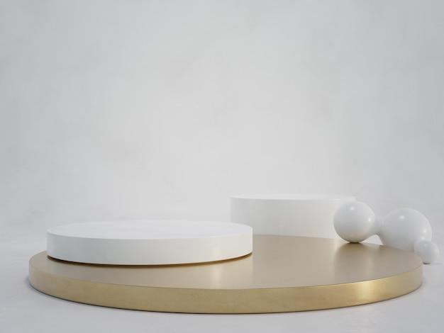 Podio rotondo in marmo bianco con base metallica in oro su pavimento di cemento e sfondo a parete vuota