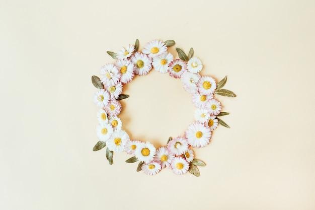 Corona rotonda cornice copia spazio mock up. fiori di camomilla margherita