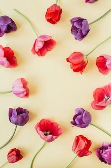 Modello di spazio di copia cornice corona rotonda. fiori colorati tulipano