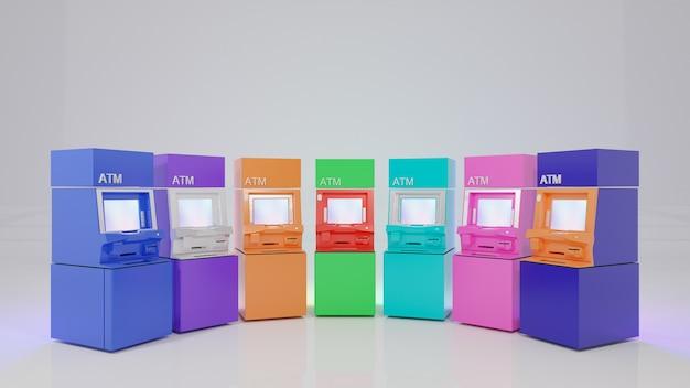 Una fila di coloratissimi bancomat. immagine di rendering 3d.