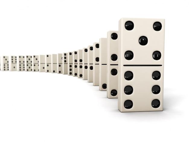 Fila di pezzi di domino