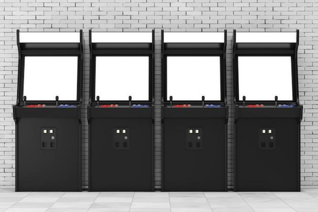 Fila di macchine da gioco arcade con schermo vuoto per il tuo design davanti al muro di mattoni. rendering 3d.