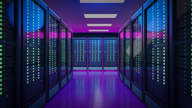 La fila di server di hosting rack container con luce blu rosa. 3d render illustrazione immagine.