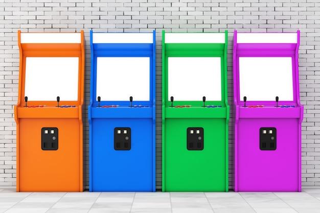 Fila di macchine da gioco arcade multicolori con schermo vuoto per il tuo design davanti a un muro di mattoni. rendering 3d.