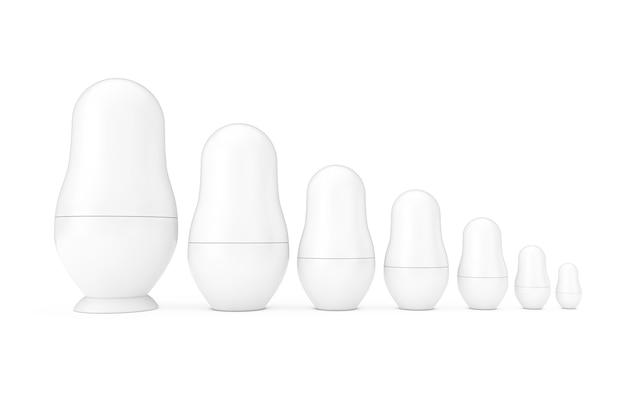 Fila di russo bianco bianco matrioska nidificazione modelli di bambole in stile argilla su sfondo bianco. rendering 3d